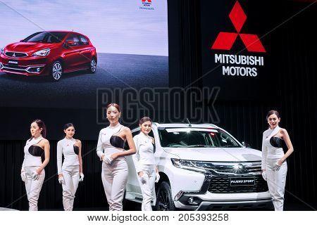 Bangkok Motor show Thailand - April 062017 : MITSUBISHI motor show booth.