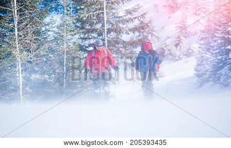 Two Climbers During A Blizzard.