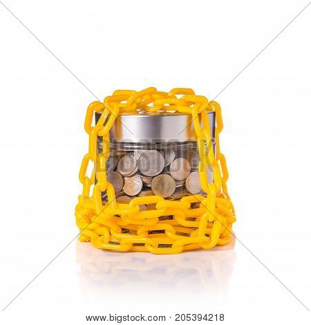 Yellow Chain Lock Around Clear Glass Jar Of Thai Coin (baht). Studio Shot Isolated On White. Save Mo