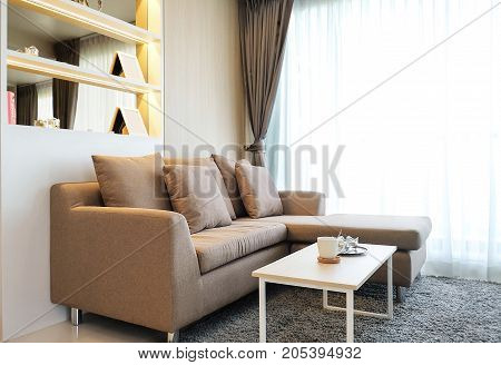 Light brown color sofa in living room.