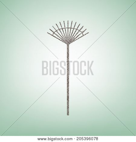 Lawn rake sign. Vector. Brown flax icon on green background with light spot at the center.