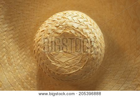 Top view of Hat weave. Detail texture of wicker.