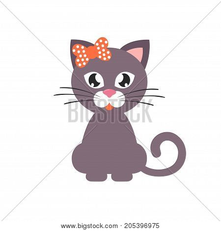 Vector image of a cartoon cat with bow