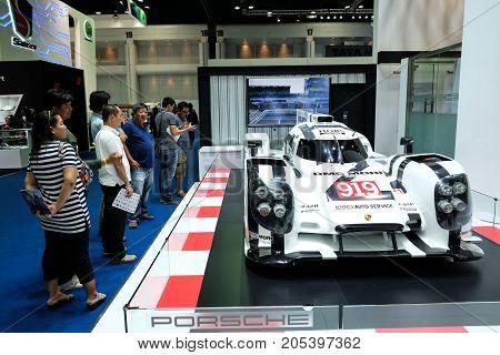 Bangkok Motor show Thailand Muang Thong Thani - March 302017 : Porsche motor show boothDMG MORI 919 race car.