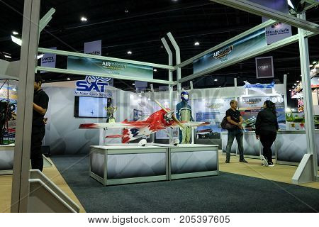 Bangkok Motor show Thailand Muang Thong Thani - March 302017 : Air race 1 world cup Thailand show booth.Forced aircraft.