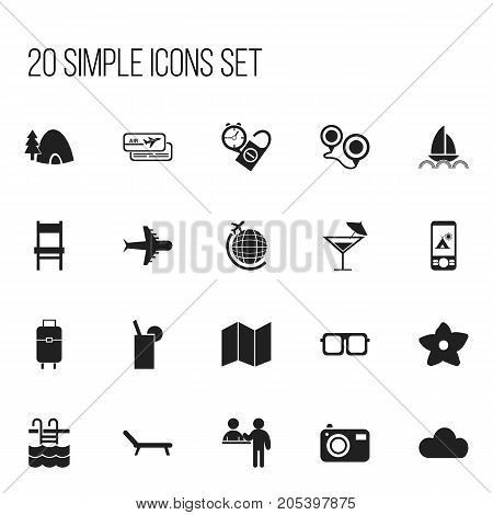 Set Of 20 Editable Travel Icons. Includes Symbols Such As Tent In Phone, Sunbathing, Yacht And More