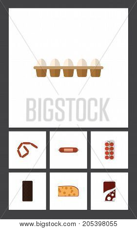 Flat Icon Eating Set Of Confection, Cheddar Slice, Bratwurst And Other Vector Objects