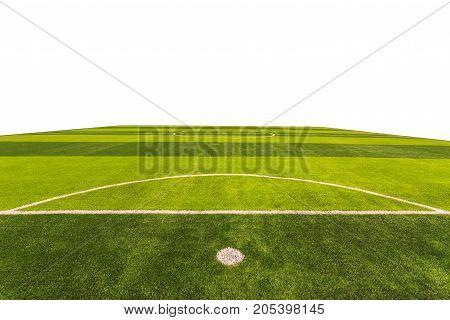 Bright And Dark Artificial Green Grass In Outdoor Football Or Futsal Stadium