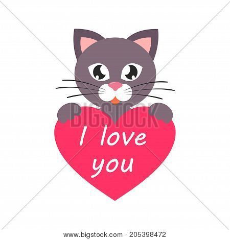Vector image of a cartoon cat with heart and text