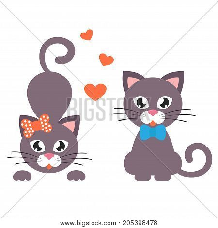 Vector image of a cartoon cat with heart set