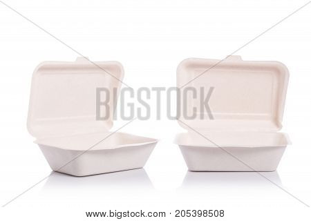 White Empty Organic Box Made From Bagasse For Food Packaging. Studio Shot And Isolated On White Back