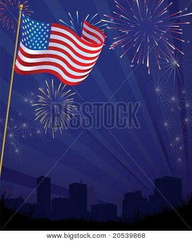 American Flag with Fireworks over City