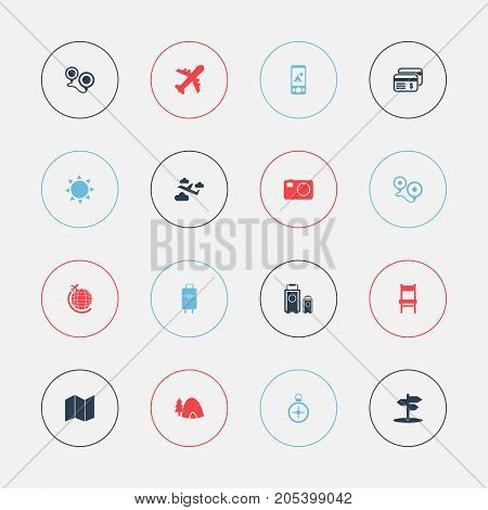 Set Of 16 Editable Journey Icons. Includes Symbols Such As Tent In Phone, Bag, Tabernacle And More
