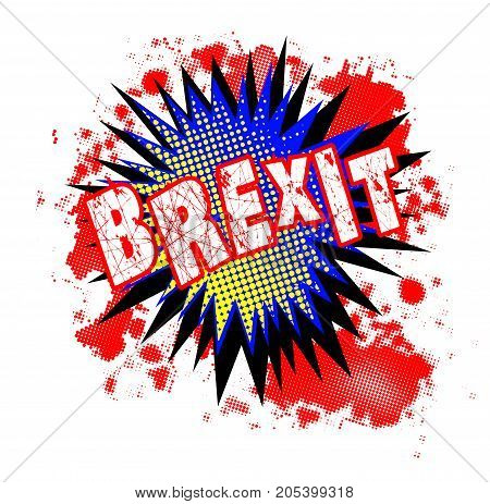 A comic cartoon style brexit exclamation explosion over a white background