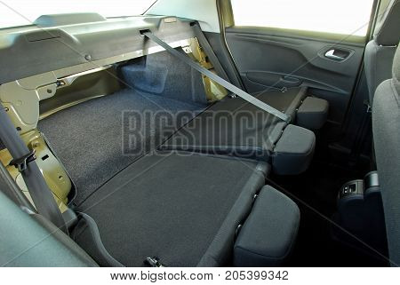 a boot in the sedan with folded rear seats