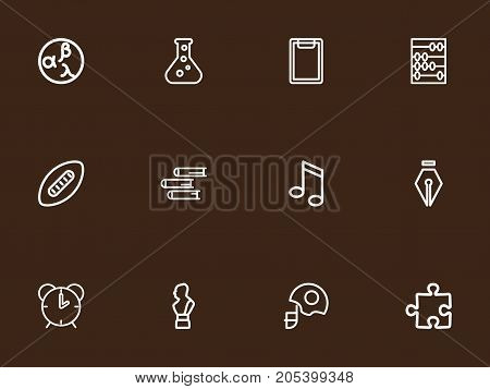Set Of 12 Editable Science Outline Icons. Includes Symbols Such As Arithmetic, Puzzle, Inkpen And More