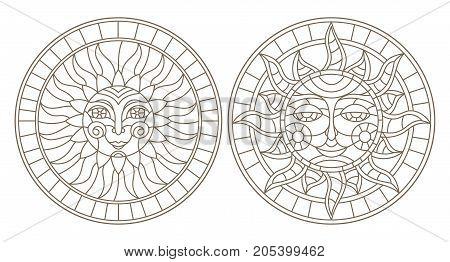 Set contour illustrations of stained glass sun with face round image dark outline on a white background isolate