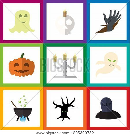 Flat Icon Celebrate Set Of Terrible Halloween, Zombie, Spirit And Other Vector Objects
