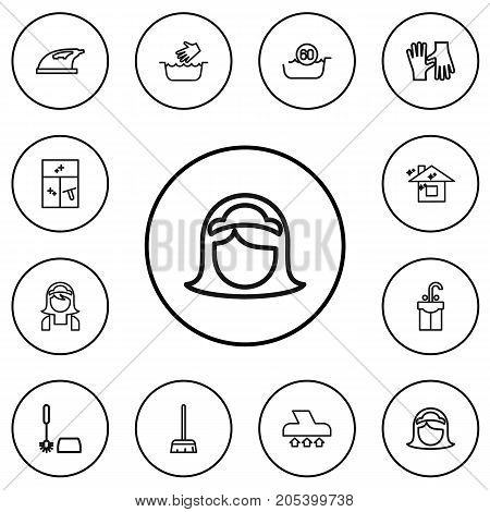 Set Of 12 Editable Cleaning Outline Icons. Includes Symbols Such As Maid, Hot Water, Hand Wash