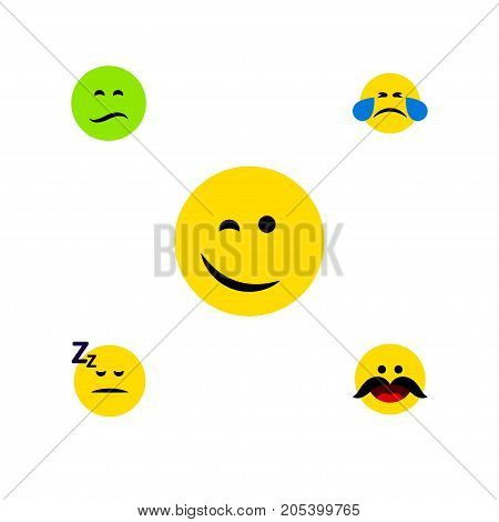 Flat Icon Emoji Set Of Winking, Asleep, Cheerful And Other Vector Objects