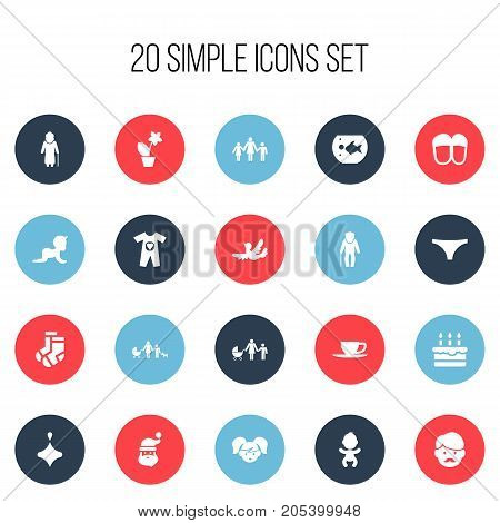 Set Of 20 Editable Folks Icons. Includes Symbols Such As Father, Floweret, Kids And More