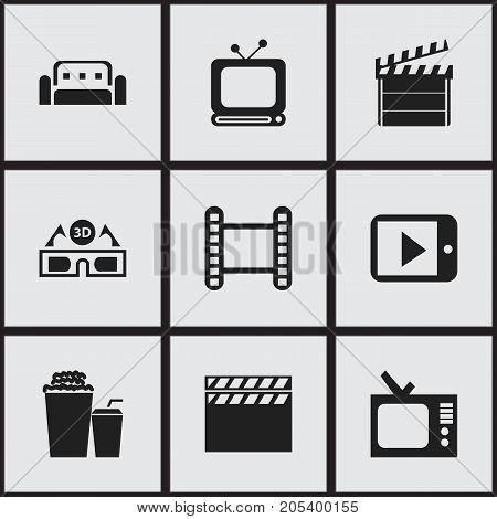 Set Of 9 Editable Cinema Icons. Includes Symbols Such As Movie Strip, Film Glasses, Retro Tv And More