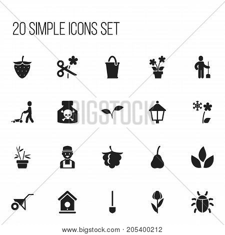 Set Of 20 Editable Gardening Icons. Includes Symbols Such As Bucket, Blackberry, Duchess And More