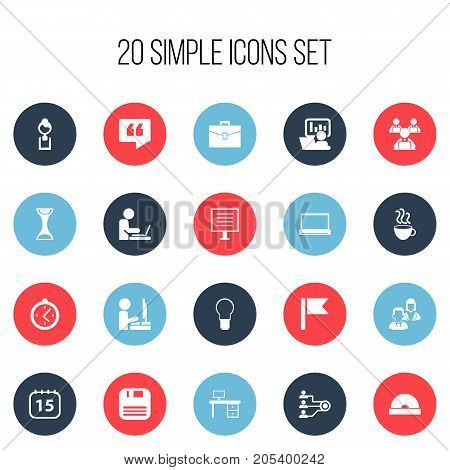 Set Of 20 Editable Office Icons. Includes Symbols Such As Publicity, Worker In Laptop, Worker With Laptop And More