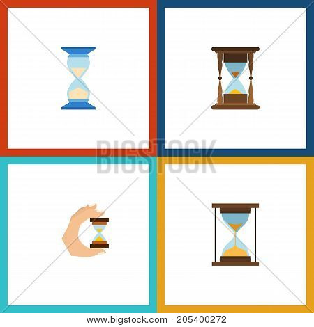 Flat Icon Hourglass Set Of Sandglass, Waiting, Minute Measuring Vector Objects