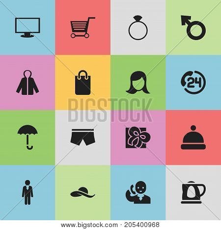 Set Of 16 Editable Business Icons. Includes Symbols Such As Swimming Trunks, Monitor, Lady Aspect And More