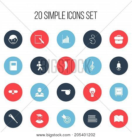 Set Of 20 Editable Education Icons. Includes Symbols Such As Briefcase, Feather, Studying Boy And More