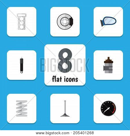Flat Icon Auto Set Of Metal, Absorber, Tachometr And Other Vector Objects