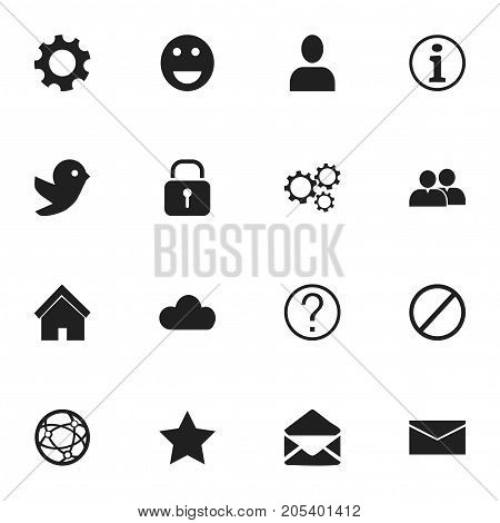 Set Of 16 Editable Internet Icons. Includes Symbols Such As Profile, Settings, Letter And More