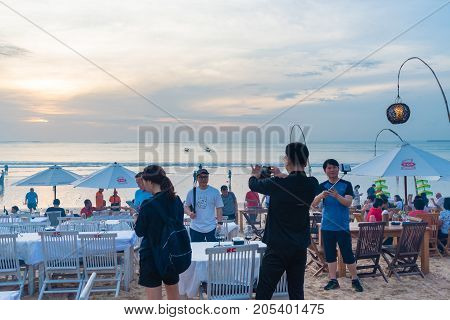 Sea Food Restaurants On Jimbaran Beach In Bali, Indonesia