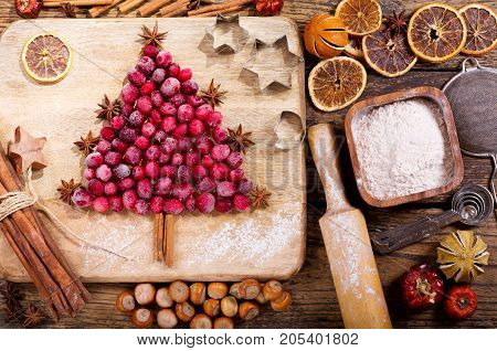 Christmas Food. Ingredients For Cooking Christmas Baking, Top View