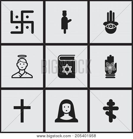 Set Of 9 Editable Faith Icons. Includes Symbols Such As Begging, Hamsa, Orthodox Symbol And More