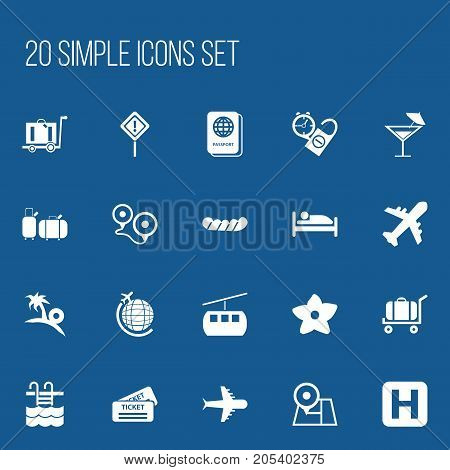 Set Of 20 Editable Trip Icons. Includes Symbols Such As Cableway, Baggage, Cart And More