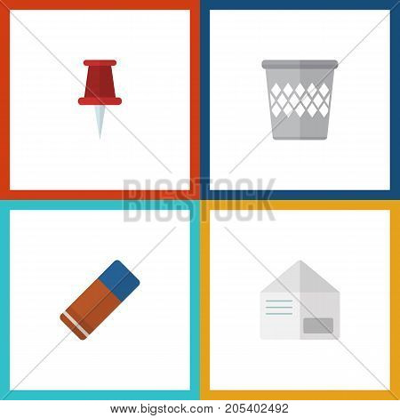 Flat Icon Tool Set Of Pushpin, Rubber, Trashcan And Other Vector Objects