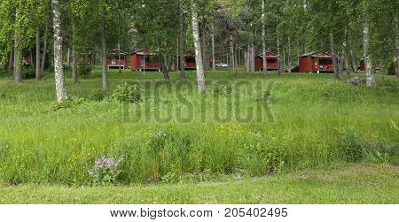 MARIEHAMN, ALAND ON JUNE 26. View of a camping,