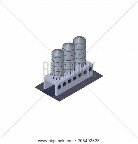 Water Storage Vector Element Can Be Used For Tank, Storage, Warehouse Design Concept.  Isolated Tank Warehouse Isometric.