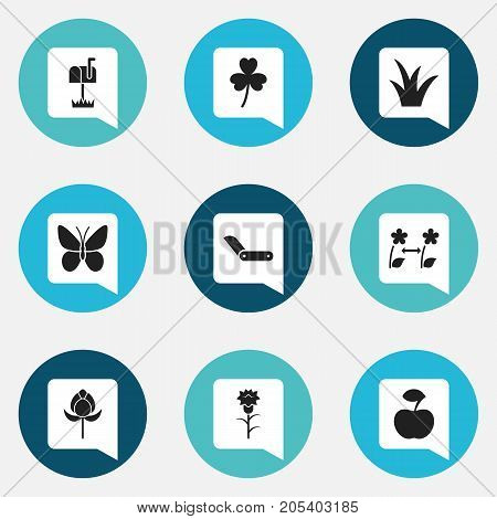 Set Of 9 Editable Gardening Icons. Includes Symbols Such As Breeding, Tulip, Trefoil And More