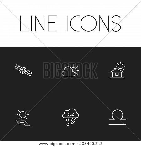 Set Of 6 Editable Weather Outline Icons. Includes Symbols Such As Solar In The Palm, Goat, Thunderstorm And More