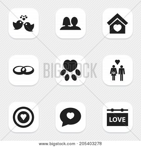 Set Of 9 Editable Love Icons. Includes Symbols Such As Sparrow, Wedlock, Building And More