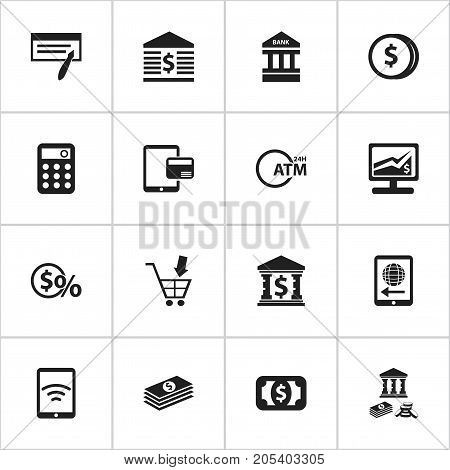 Set Of 16 Editable Finance Icons. Includes Symbols Such As International Delivery, Calculator, Architecture And More