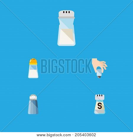 Flat Icon Sodium Set Of Spice, Pour, Shaker And Other Vector Objects