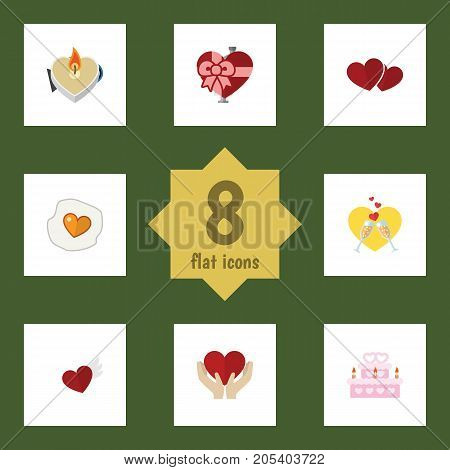 Flat Icon Heart Set Of Fire Wax, Soul, Wings And Other Vector Objects