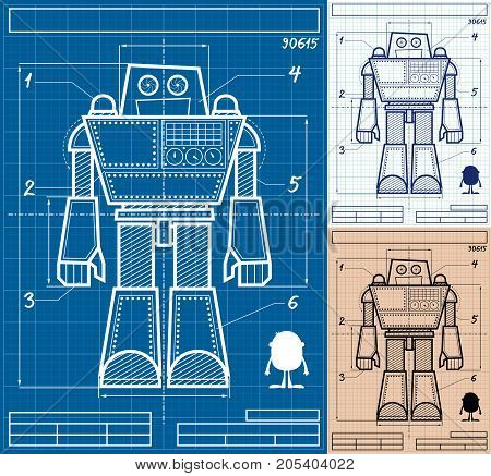 Cartoon blueprint of giant robot in 3 versions.