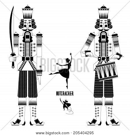 Two Сhristmas Nutcrackers the mouse king and ballerina. Black and white. Vector illustration