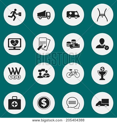 Set Of 16 Editable Complicated Icons. Includes Symbols Such As Heart Rhythm, File, Coins And More