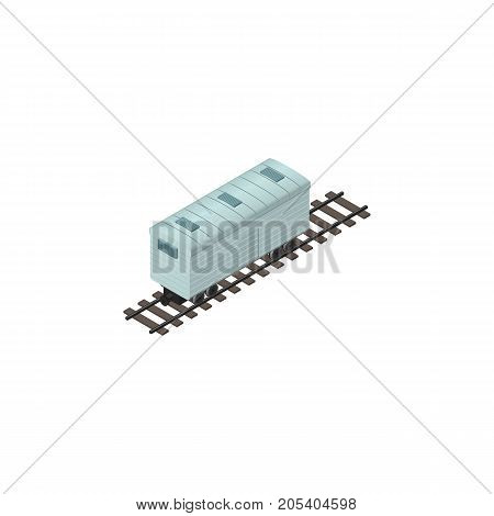 Railroad Carriage Vector Element Can Be Used For Carriage, Metal, Wagon Design Concept.  Isolated Subway Tank Isometric.